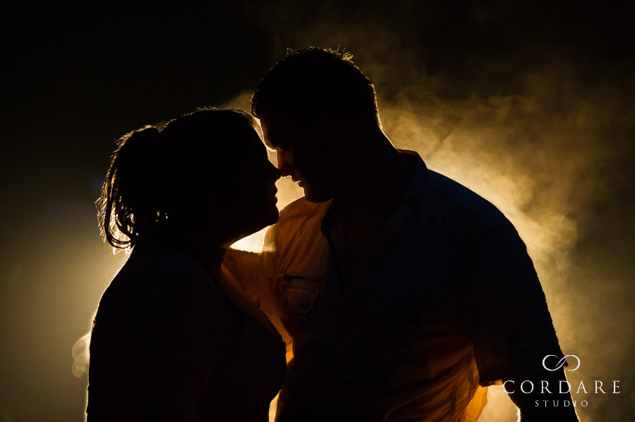 steamy silhouette of couple