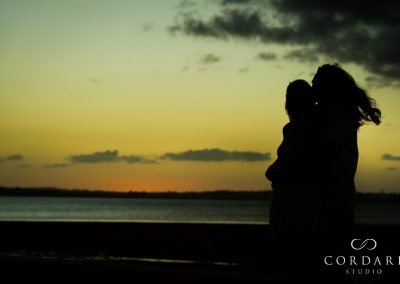Brooke and Josh's silhouette against sunset