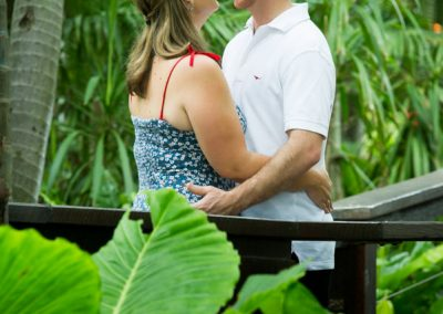 couple hugging in garden