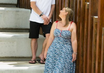 Couple standing on steps